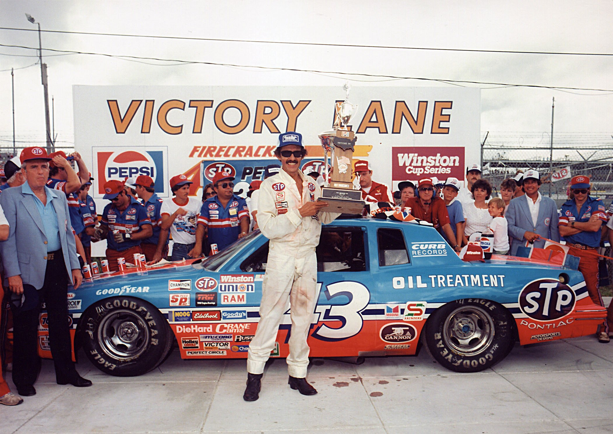 Richard Petty celebrates his 200th NASCAR Cup Series win on July 4, 1984
