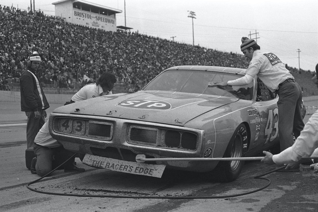 Richard Petty makes a pit stop in 1975