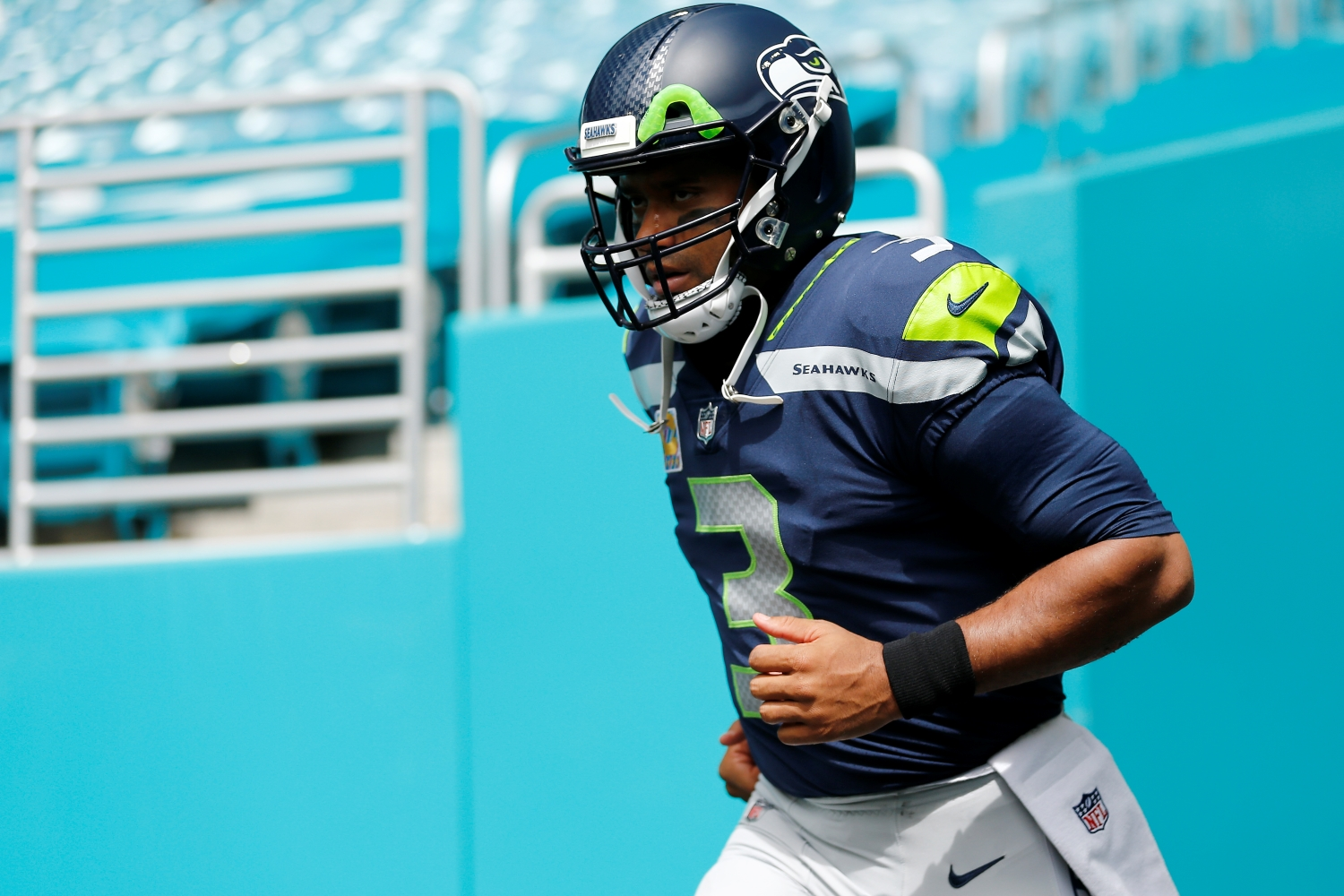 Russell Wilson of the Seattle Seahawks takes the field prior to the game against the Miami Dolphins.