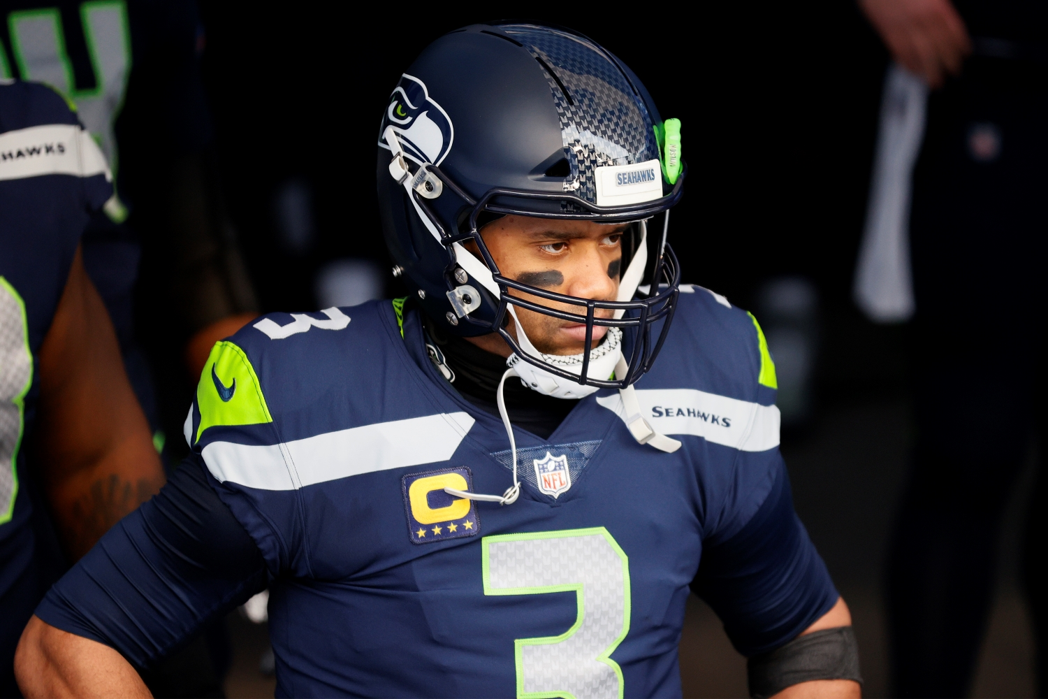 Seahawks quarterback Russell Wilson prepares to take the field.