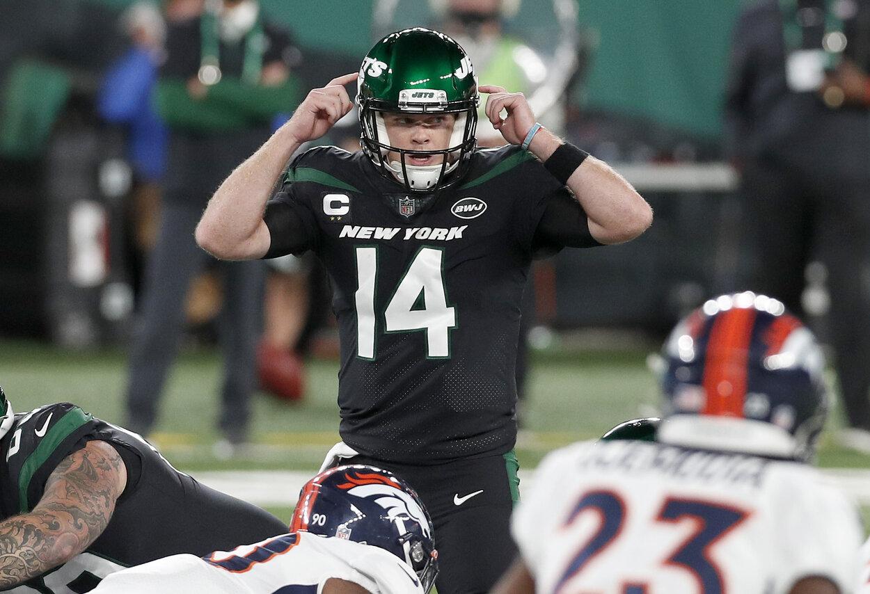 New York Jets quarterback Sam Darnold during a 2020 game.