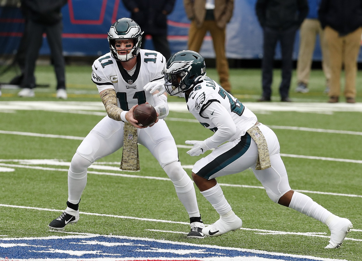 Carson Wentz and Miles Sanders of the Philadelphia Eagles
