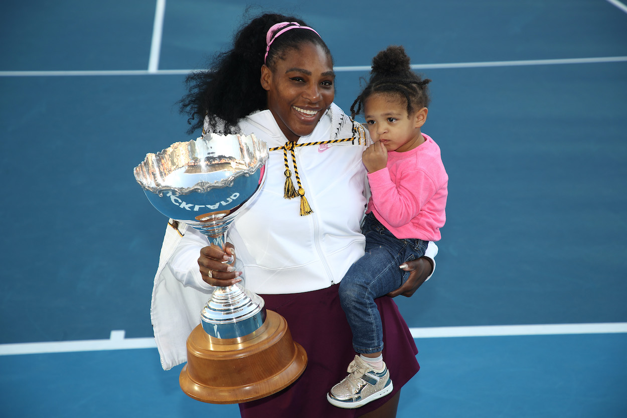 Serena Williams celebrates with her daughter after winning the 2020 Women's ASB Classic