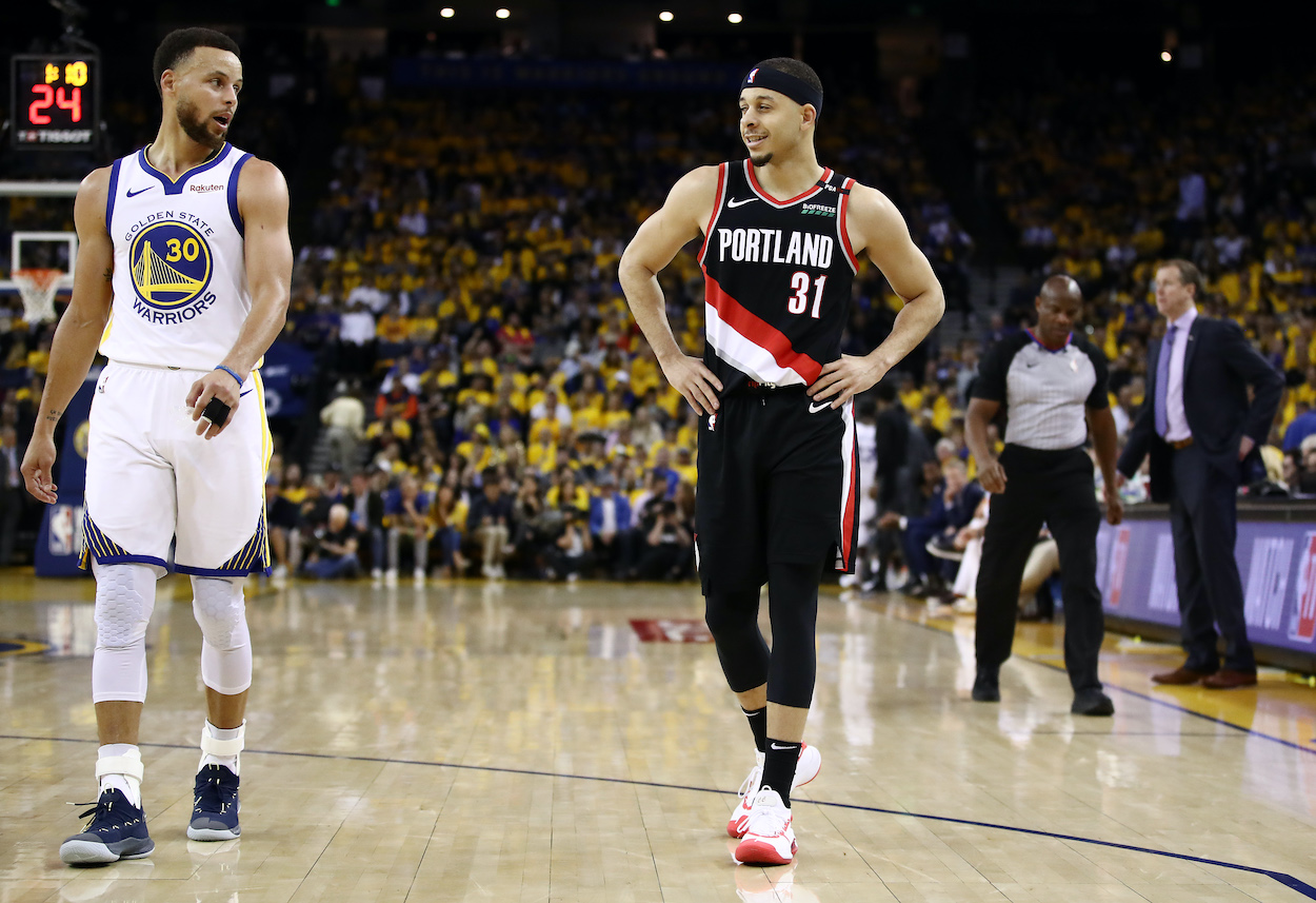 Brothers Steph Curry and Seth Curry face off with the Golden State Warriors and Portland Trail Blazers