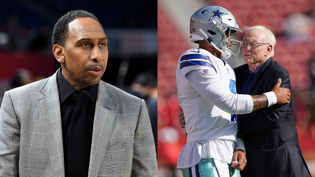 Stephen A. Smith, Dak Prescott, and Jerry Jones. Dak Prescott is looking for a contract from the Cowboys again this offseason.