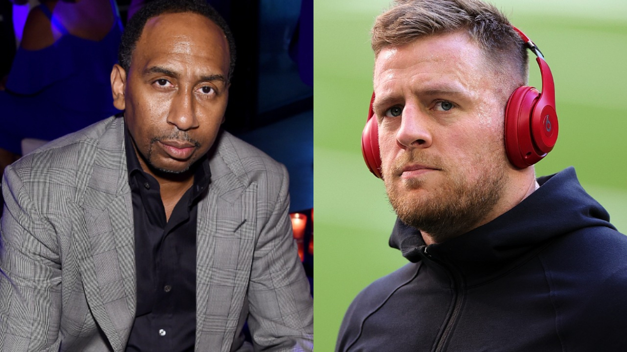 ESPN analyst Stephen A. Smith and former Texans defensive end J.J. Watt.
