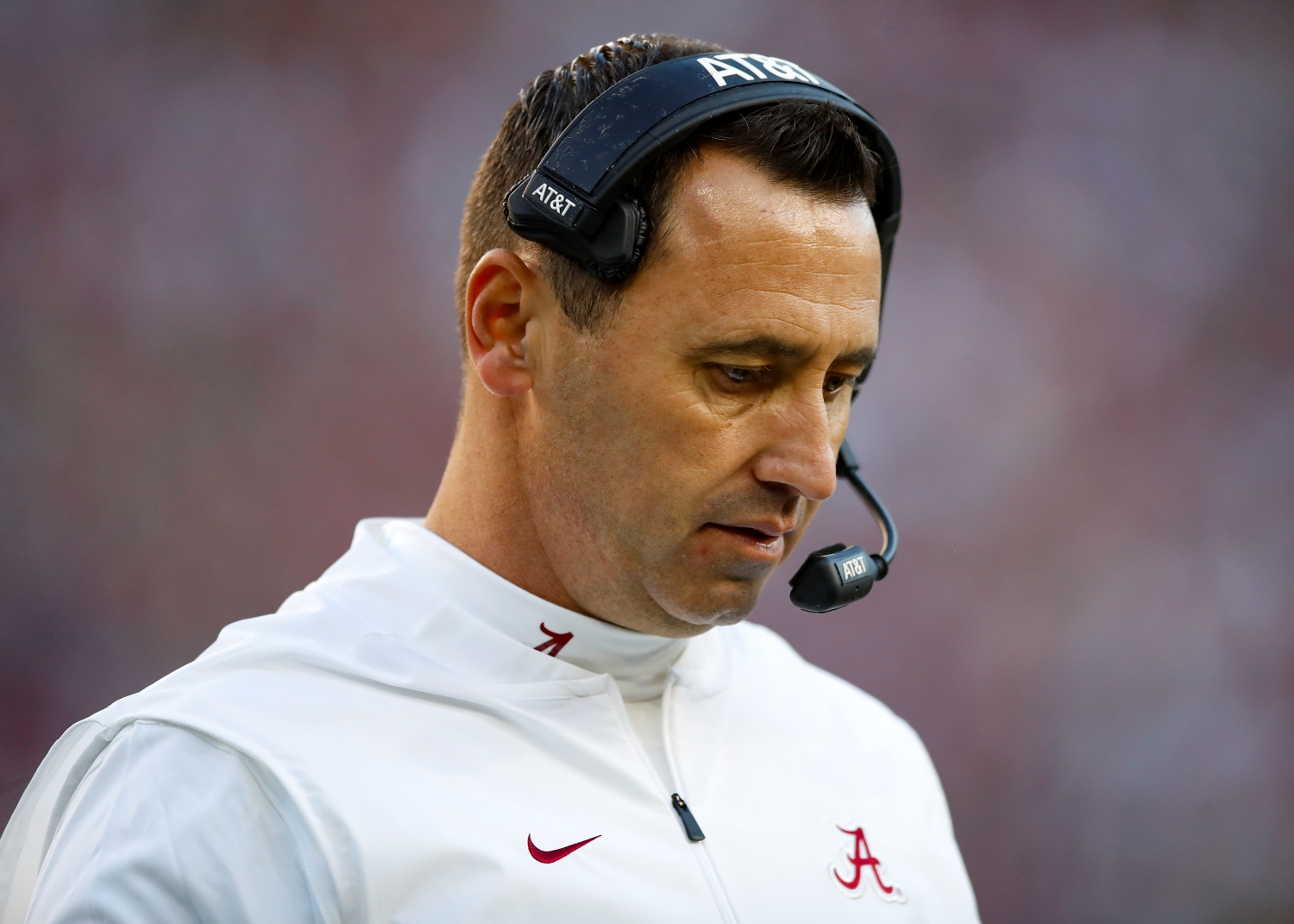 Alabama Crimson Tide offensive coordinator / Quarterbacks coach Steve Sarkisian looks on during the first half against the LSU Tigers at Bryant-Denny Stadium.