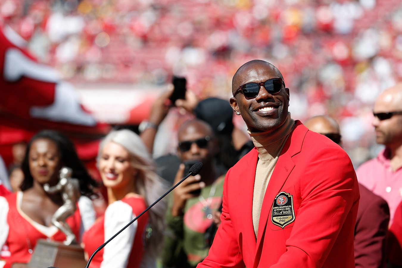 Terrell Owens at his 49ers Hall of Fame ceremony