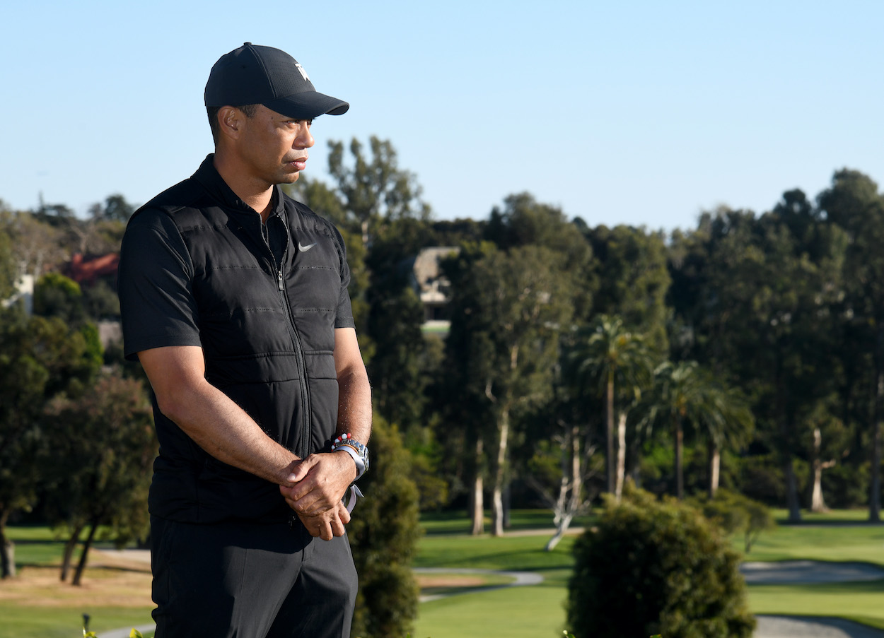 Tiger Woods looks on during the 2021 Genesis Invitational