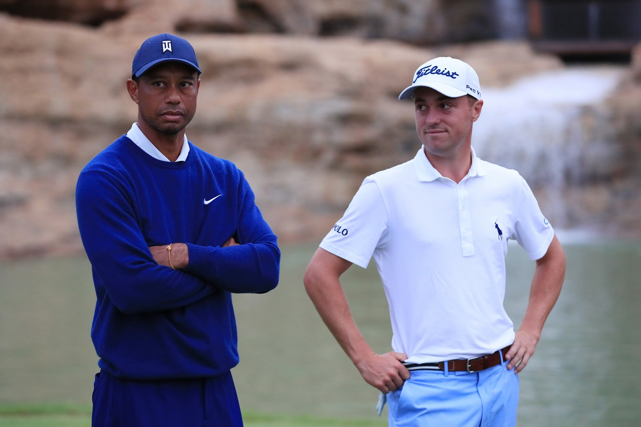 Tiger Woods and Justin Thomas at the Payne's Valley Cup in September 2020