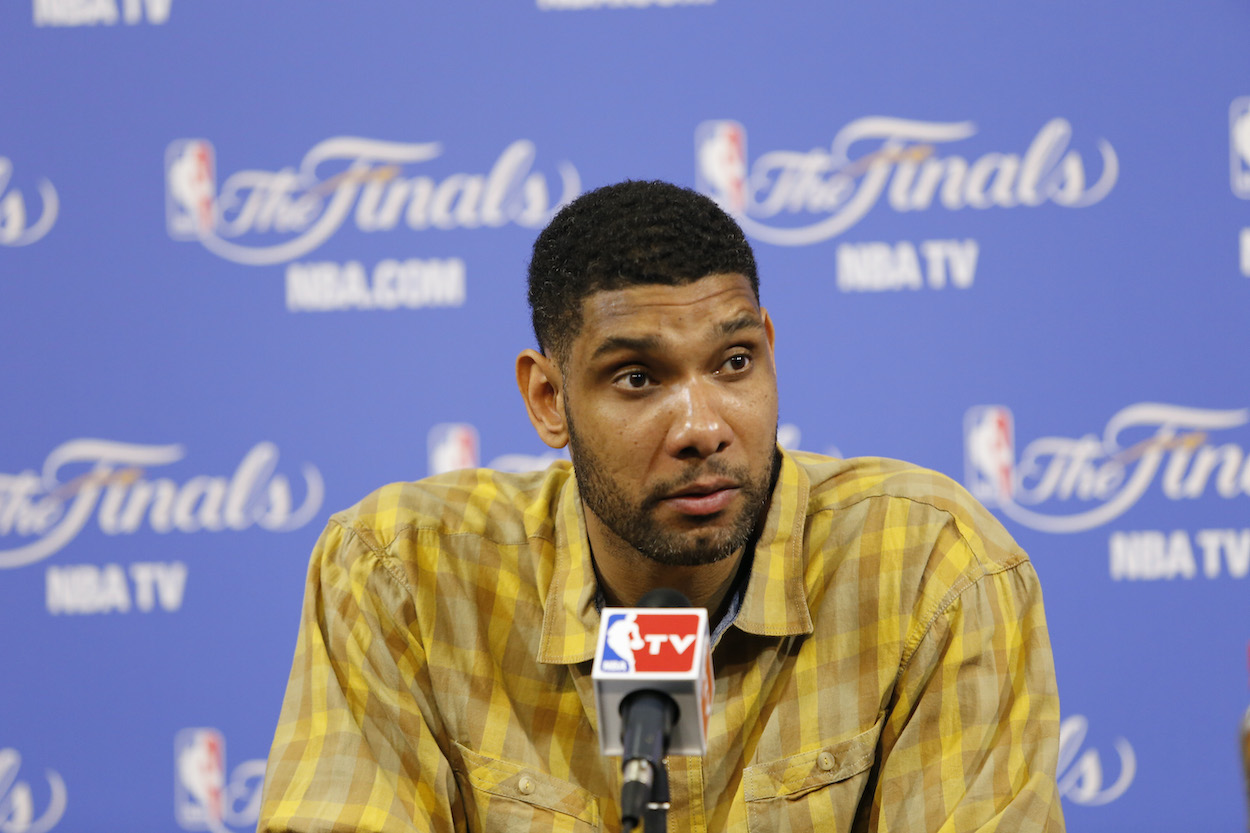 Tim Duncan of the San Antonio Spurs speaks to reporters after an NBA Finals game