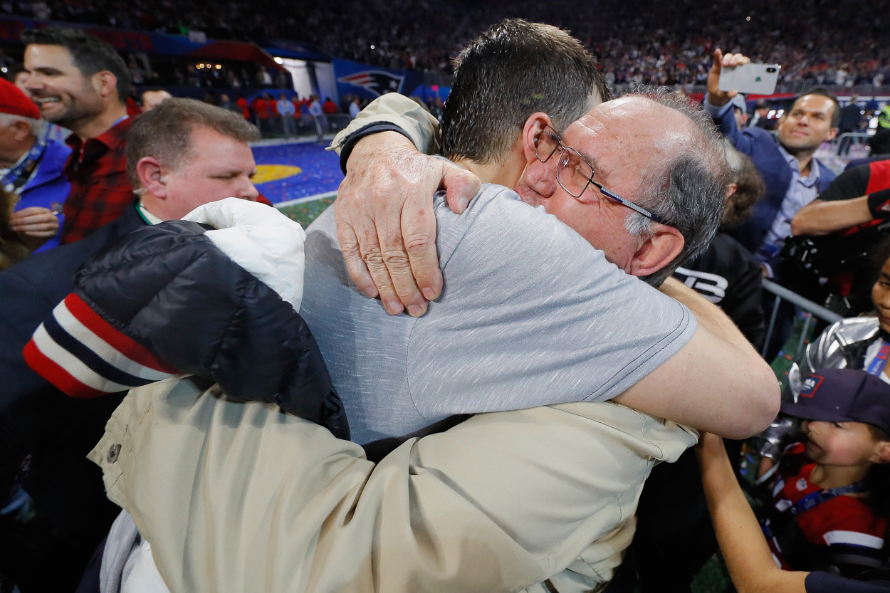 Tom Brady hugs his dad after winning a Super Bowl