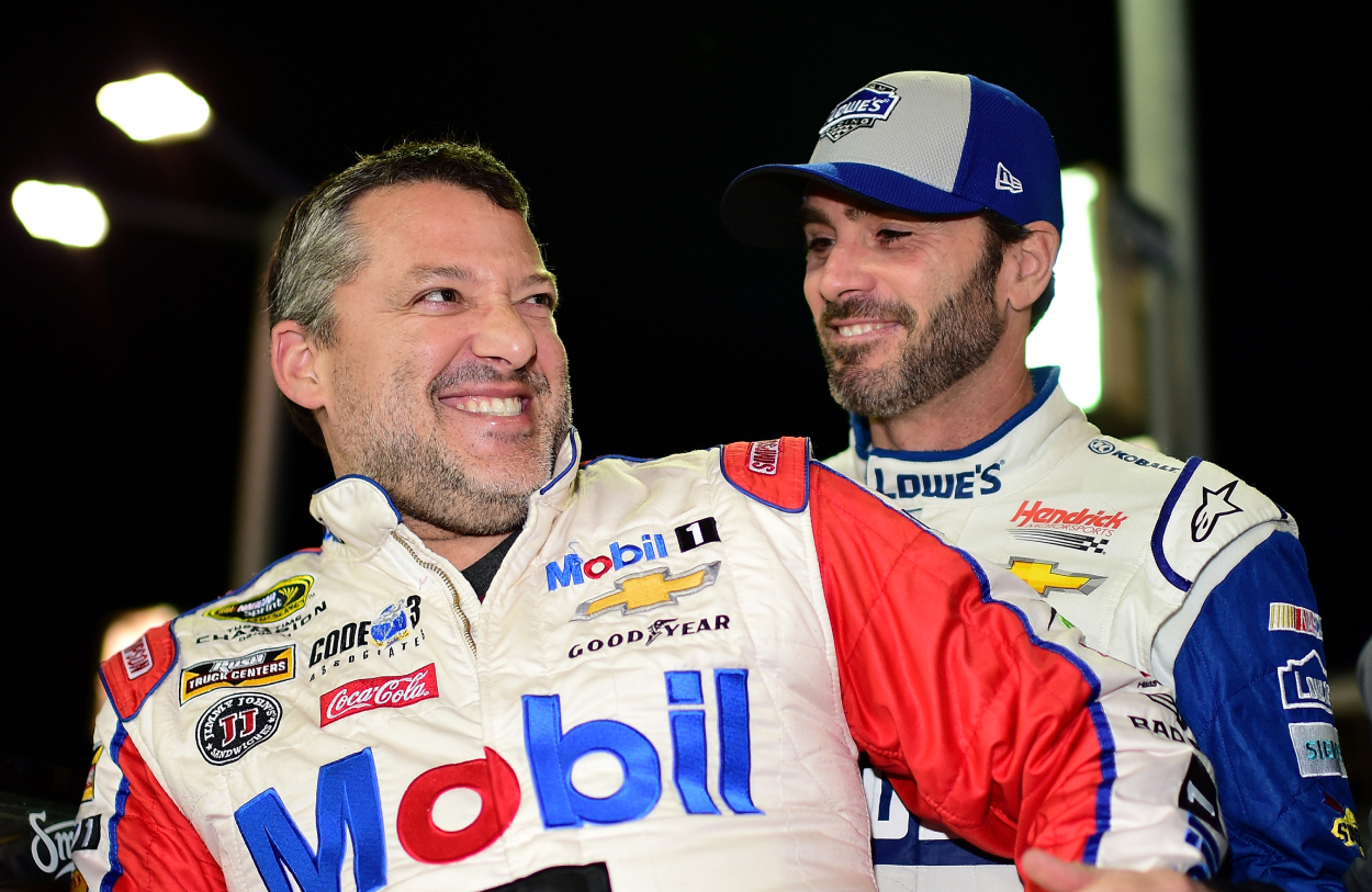 Tony Stewart and Jimmie Johnson during qualifying for the EcoBoost 400.