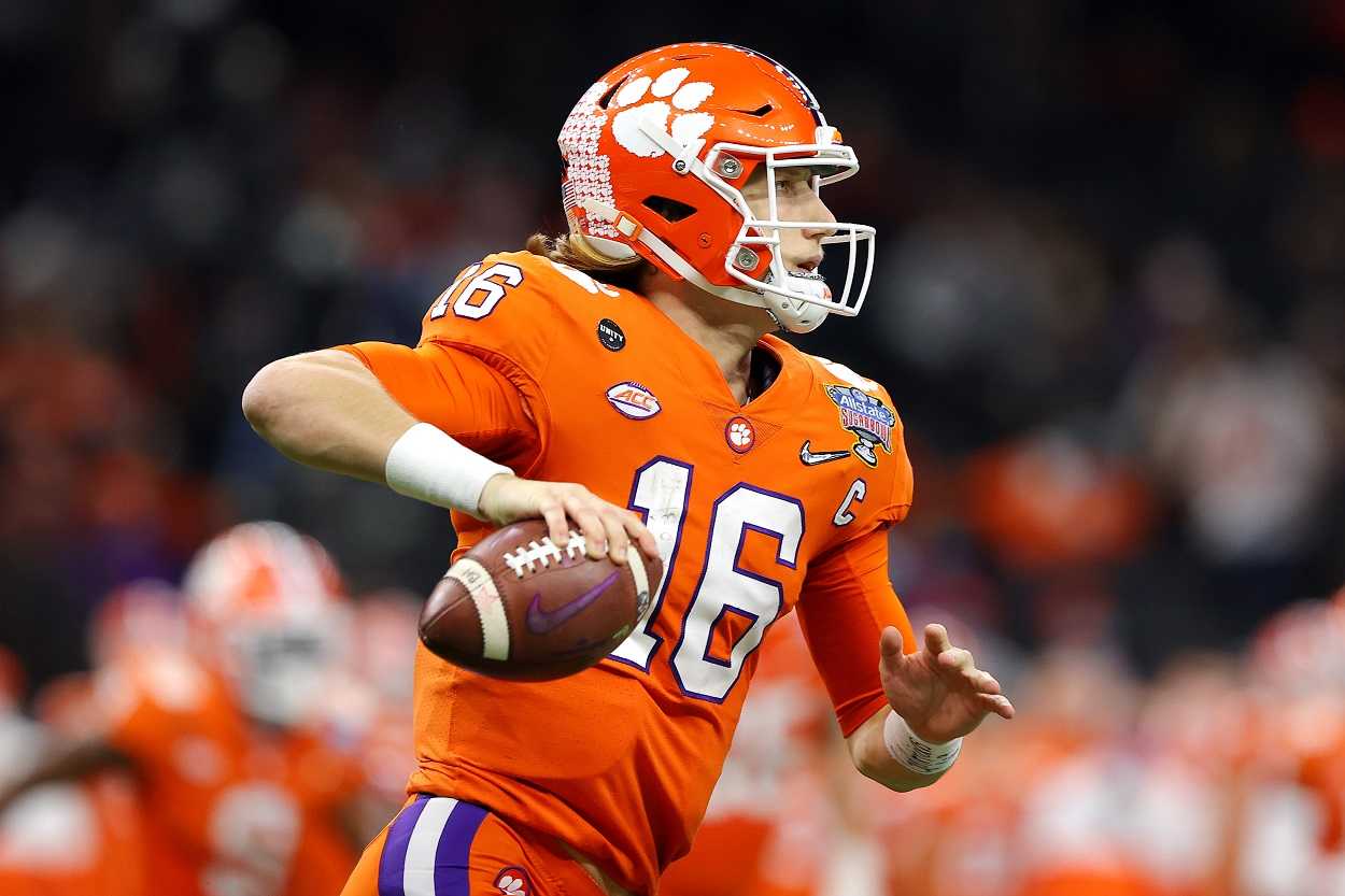 Clemson QB Trevor Lawrence sets up to pass in the 2021 Sugar Bowl