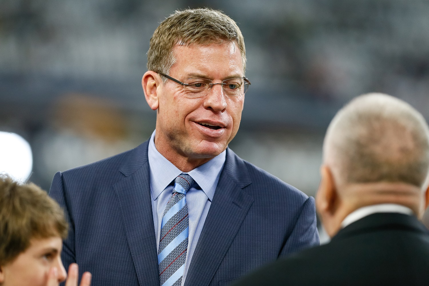 Troy Aikman visits the sidelines prior to the NFC Divisional Playoff game between the Dallas Cowboys and Green Bay Packers on Jan. 15, 2017.