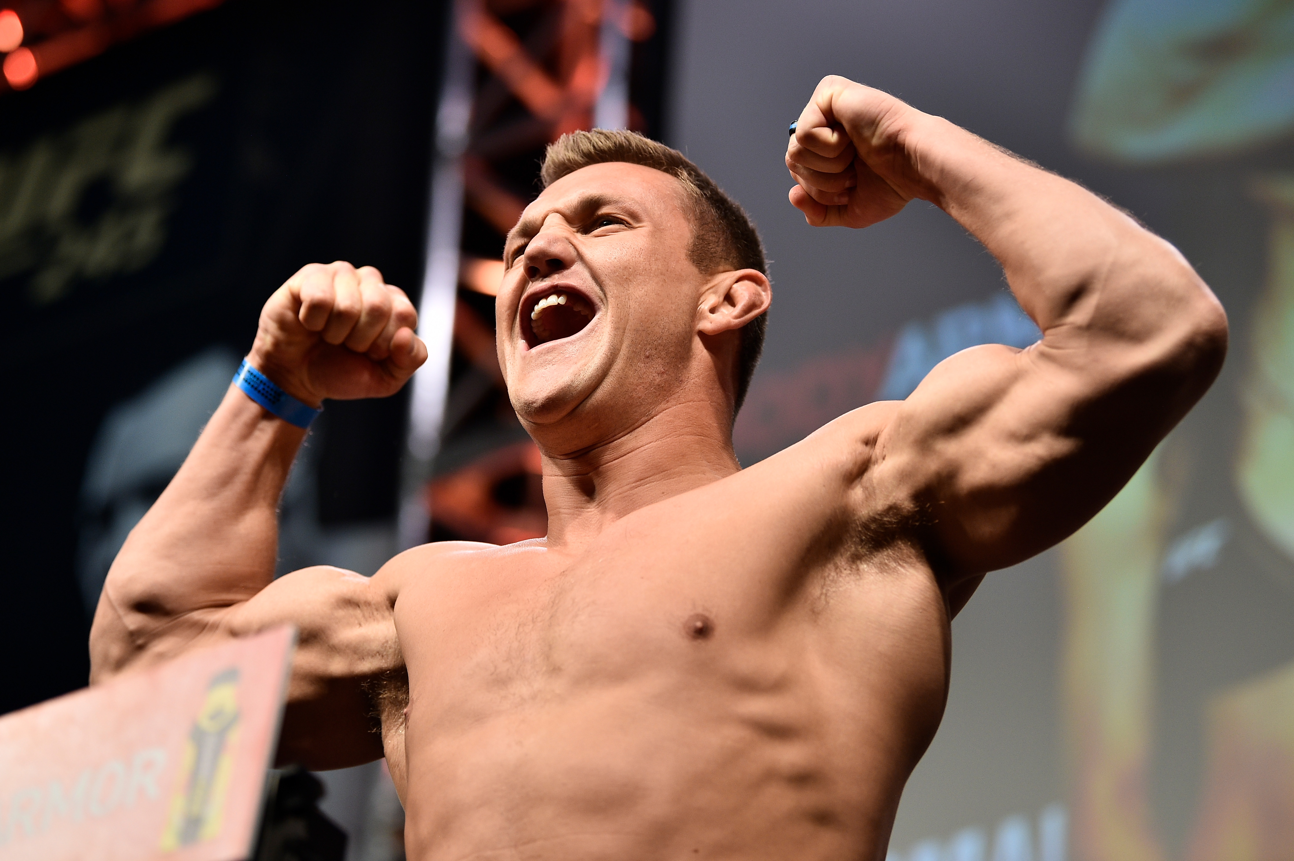 Ian Heinisch poses on the scale during the UFC 245 weigh-ins