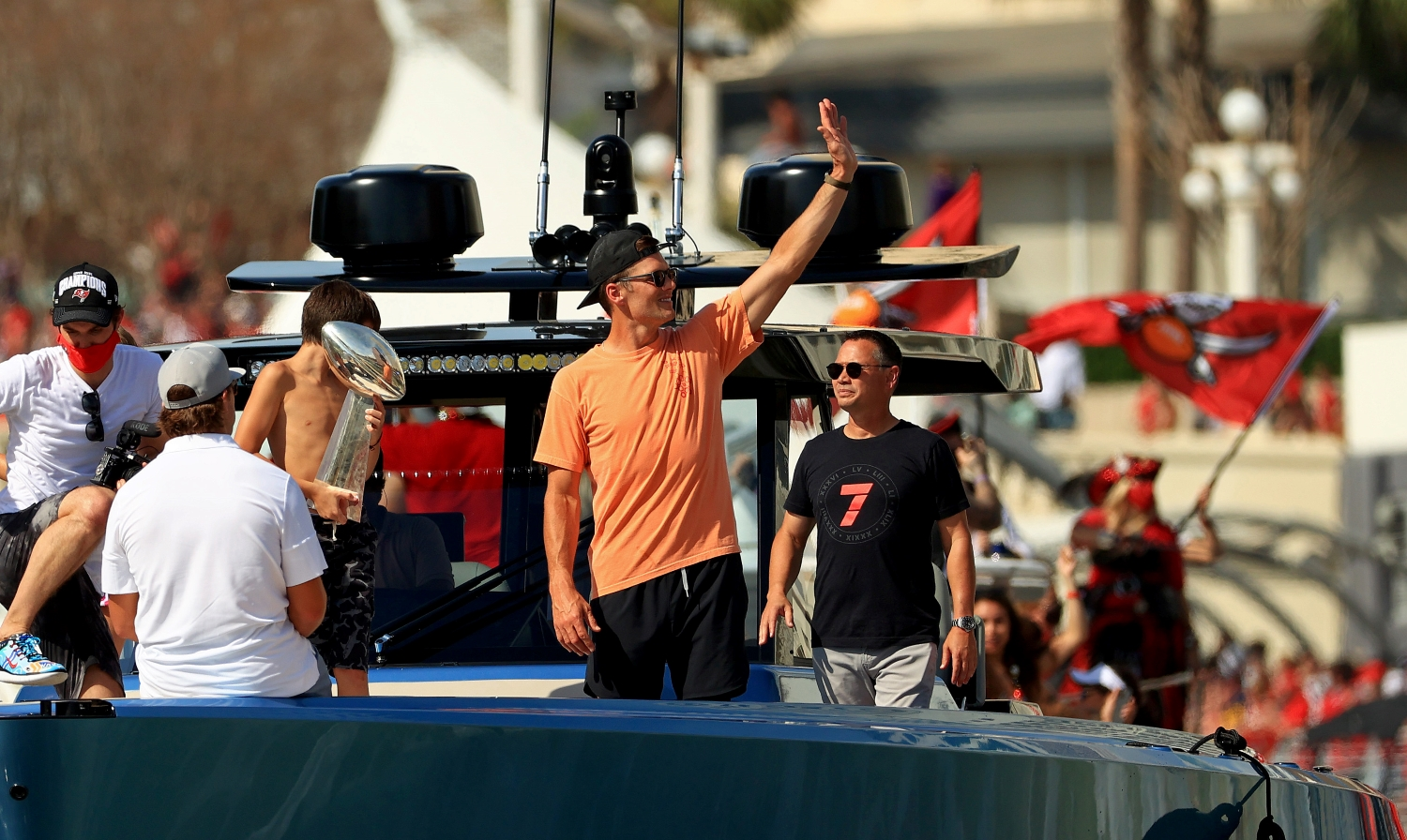 Tom Brady of the Tampa Bay Buccaneers celebrates their Super Bowl 55 victory during a boat parade through the city.