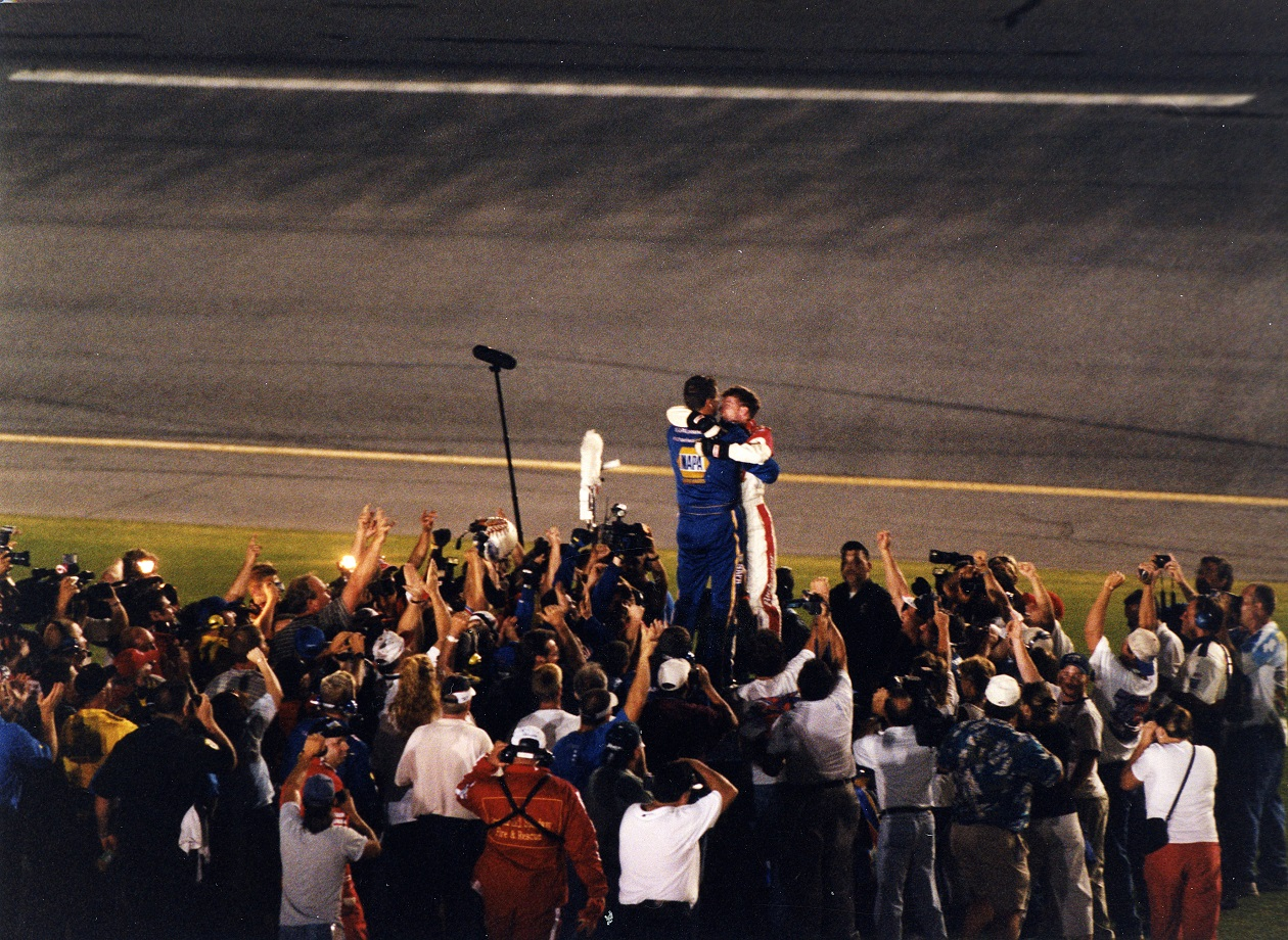 Dale Earnhardt Jr. and Michael Waltrip celebrate after the 2001 Pepsi 400