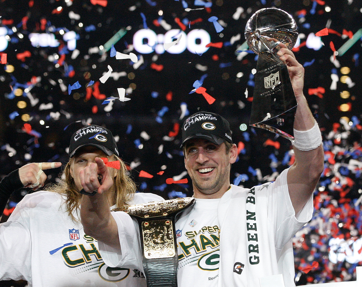 Aaron Rodgers celebrates winning the Super Bowl in 2011