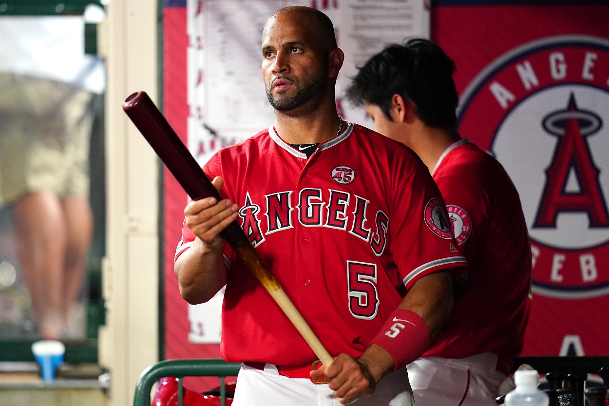 Albert Pujols in the dugout during a game between the LA Angels and Seattle Mariners.
