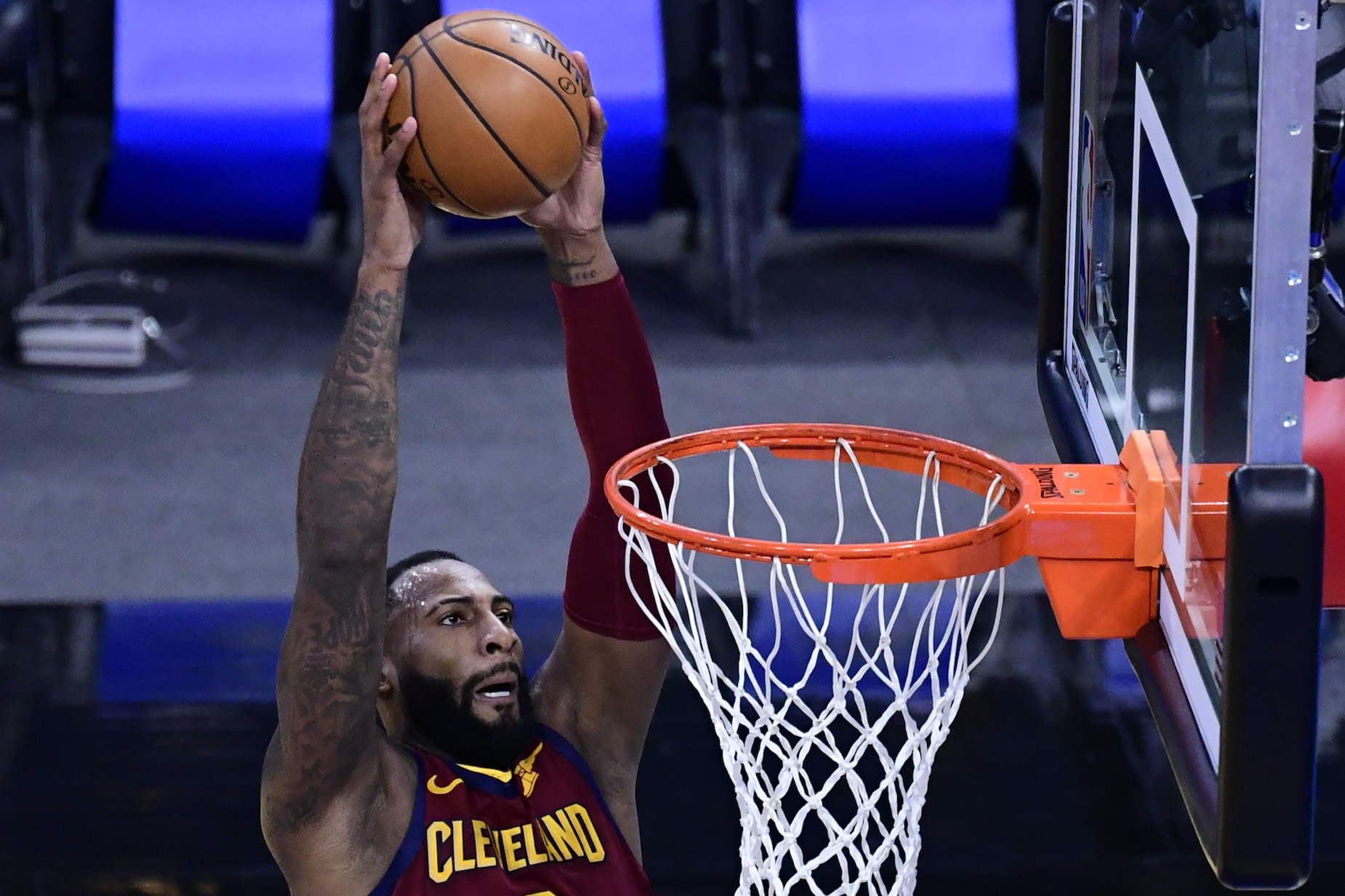 LA Lakers center Andre Drummond, then of the Cleveland Cavaliers, dunks during an NBA game.