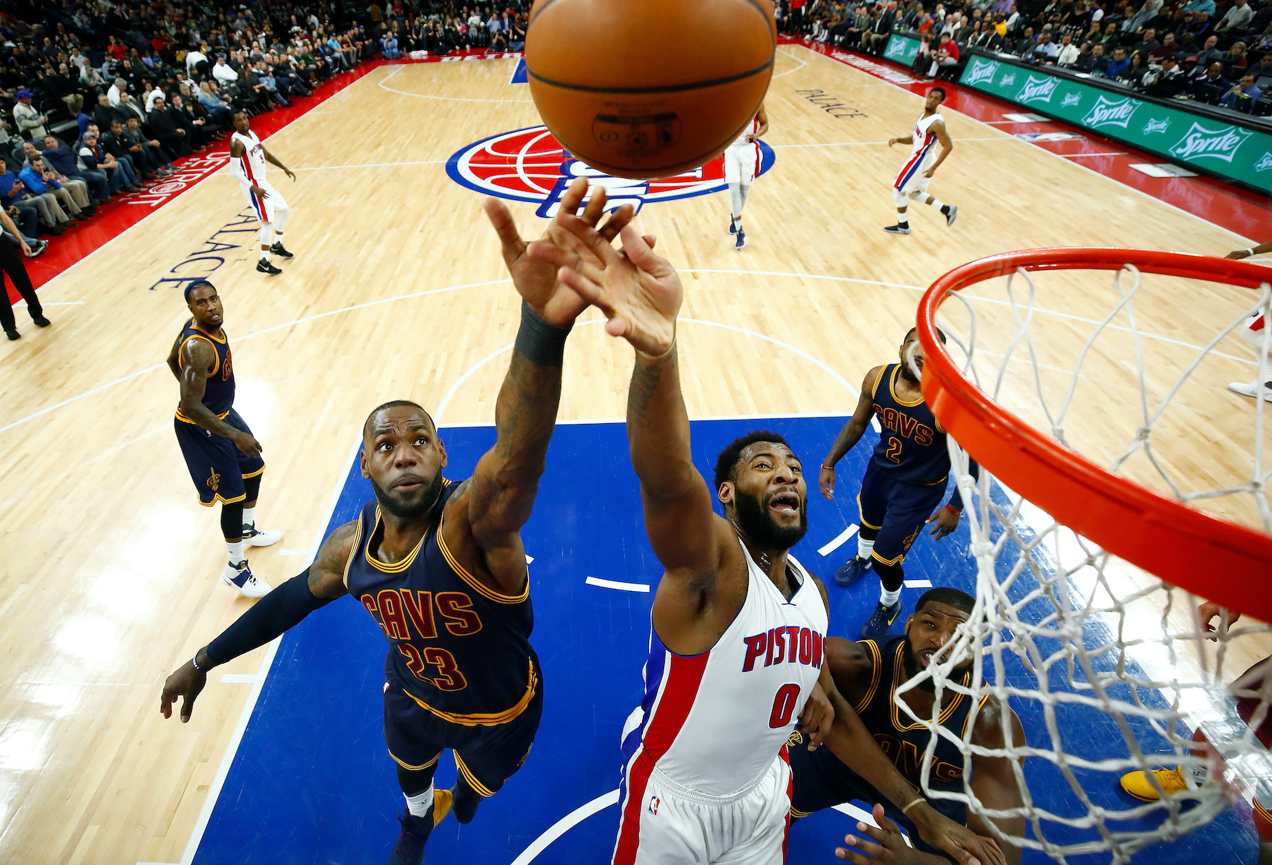 Andre Drummond and LeBron James, who are now LA Lakers teammates, battle for a rebound in 2017