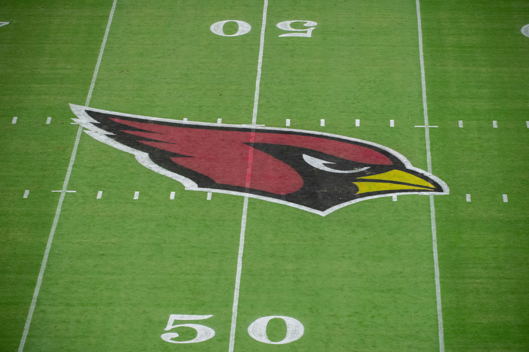 The on-field logo of the Arizona Cardinals, who recently landed J.J. Watt in free agency.