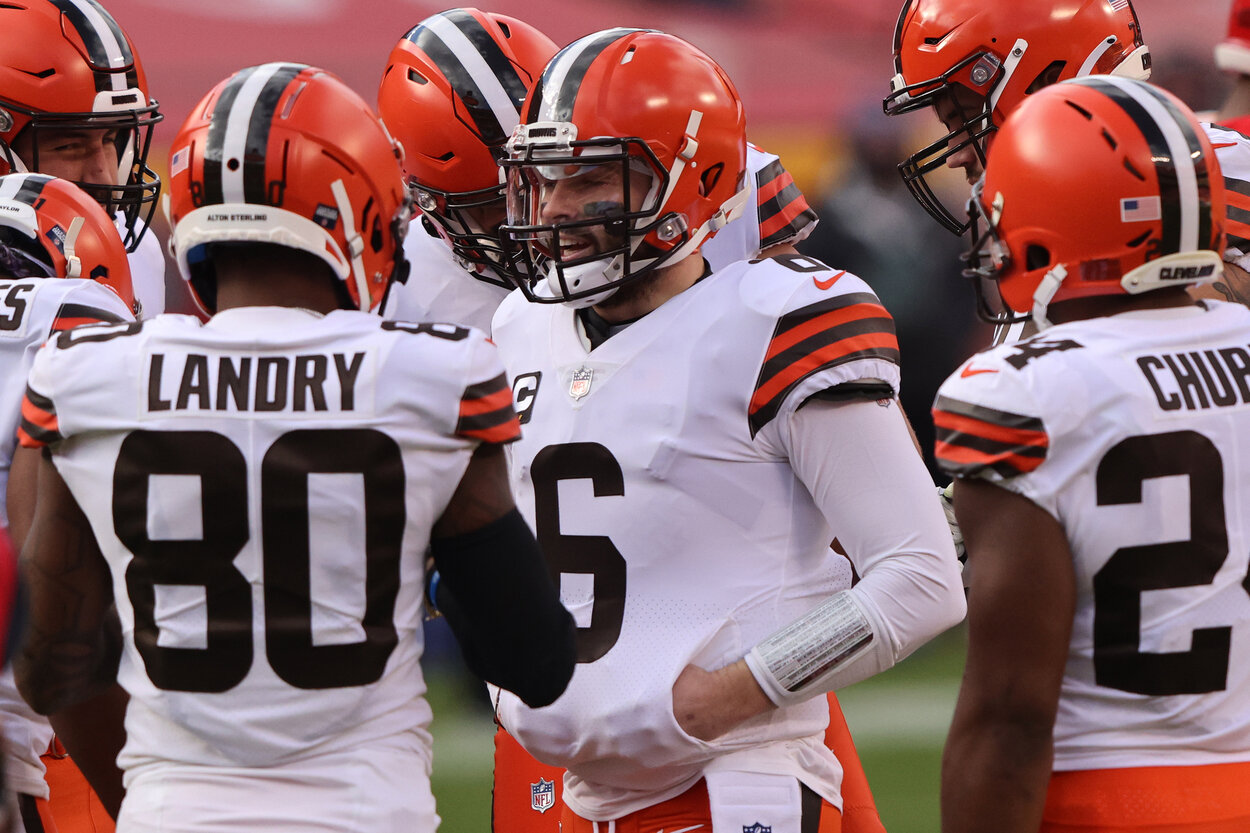 Cleveland Browns quarterback Baker Mayfield during a 2021 game.