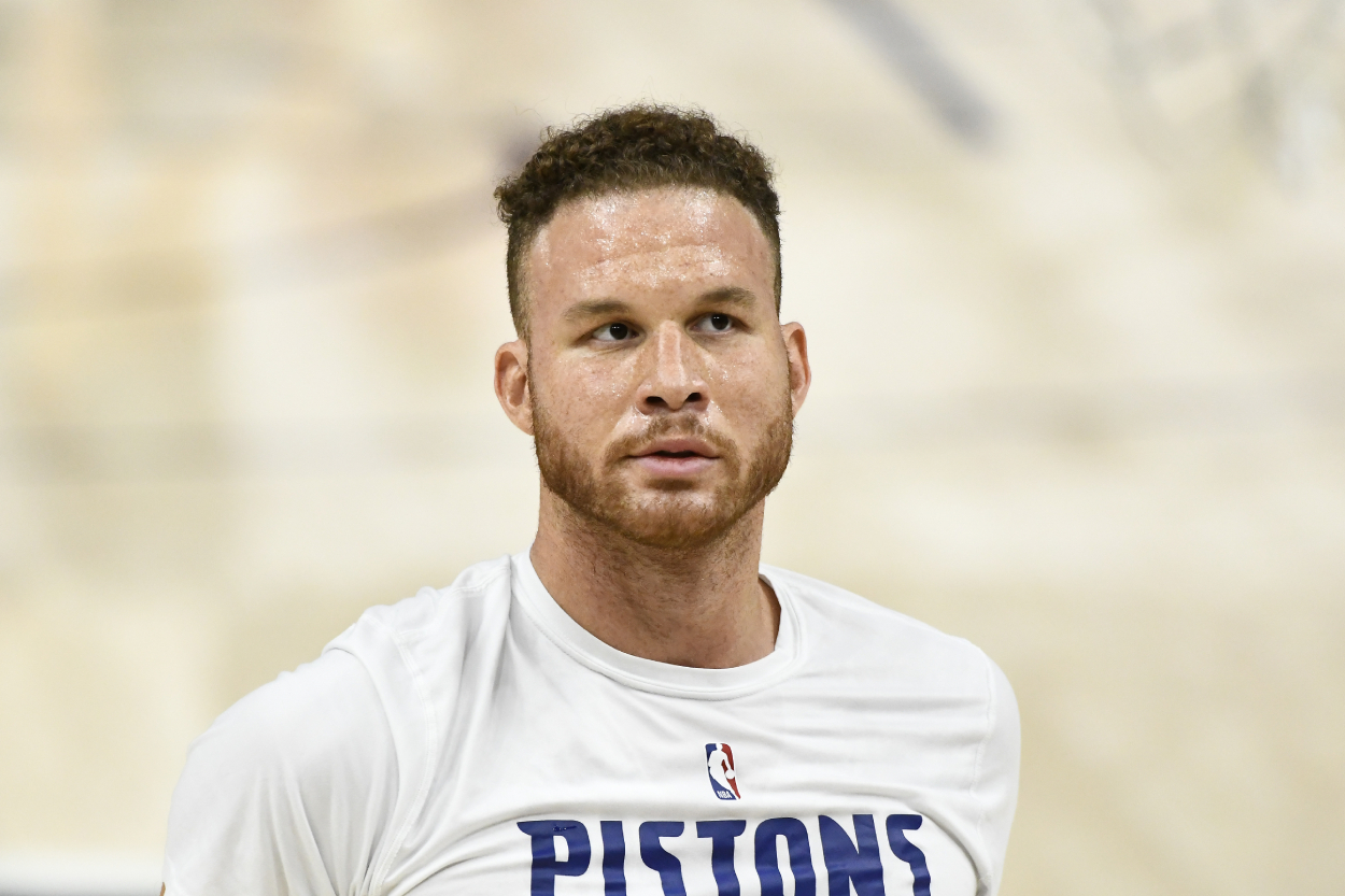 Blake Griffin warming up before a Pistons game