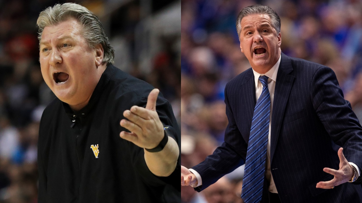 West Virginia basketball coach Bob Huggins and Kentucky coach John Calipari.