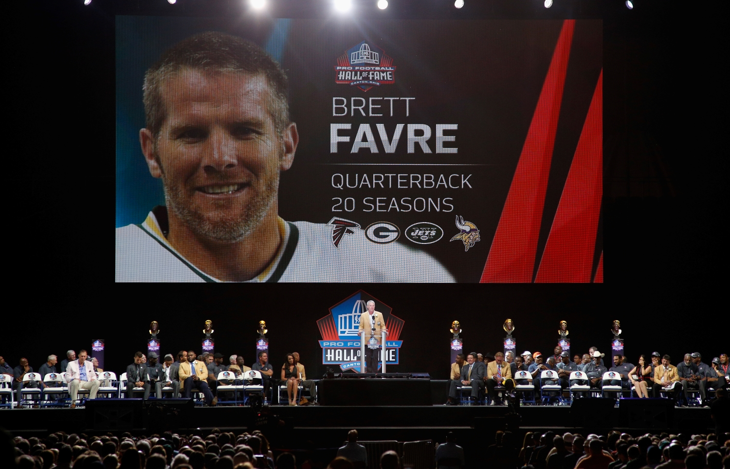 Green Bay Packers legend Brett Favre speaks during his Pro Football Hall of Fame induction ceremony on Aug. 6, 2016.