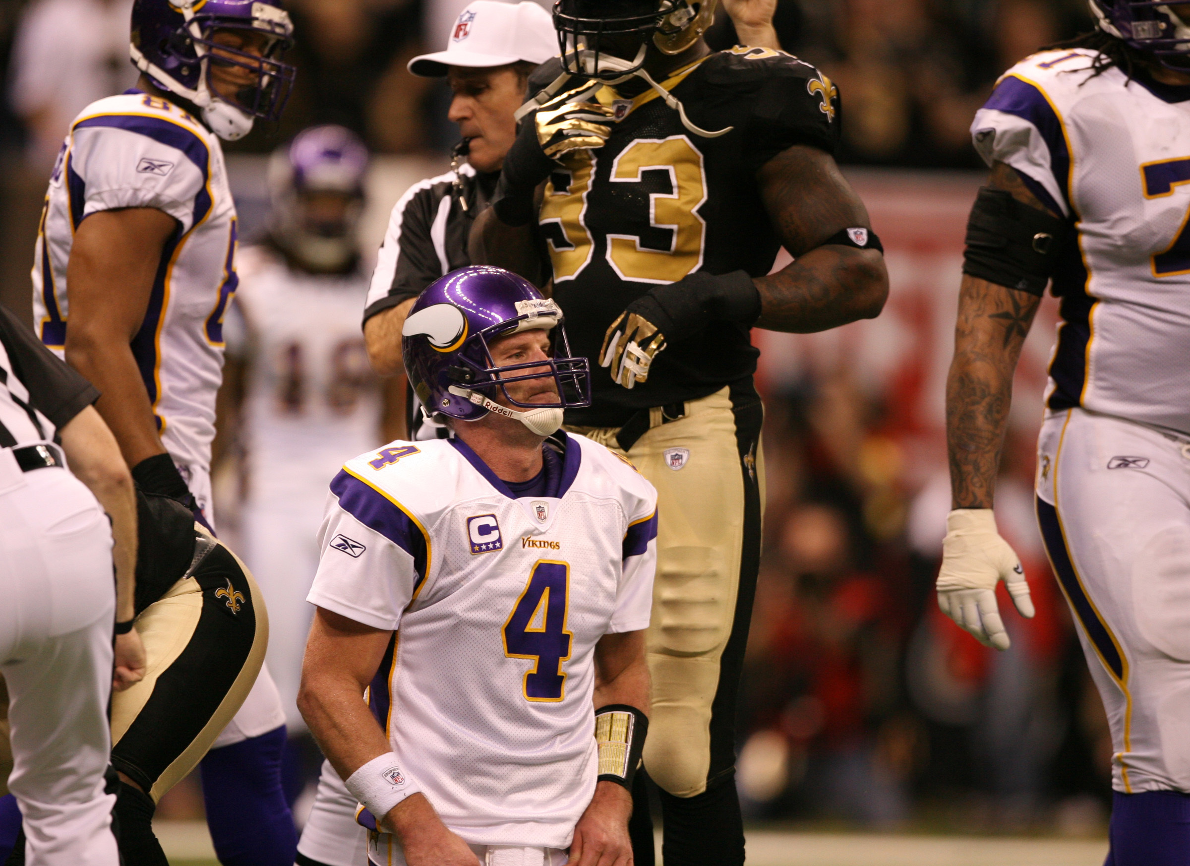 Brett Favre took quite a few extra hits against the New Orleans Saints in the 2010 NFC Championship Game.