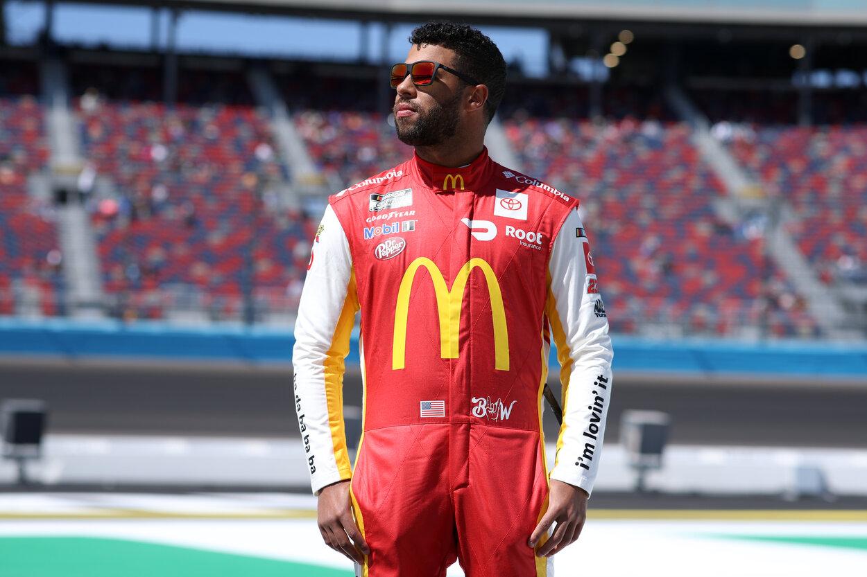 NASCAR driver Bubba Wallace before a 2021 race.