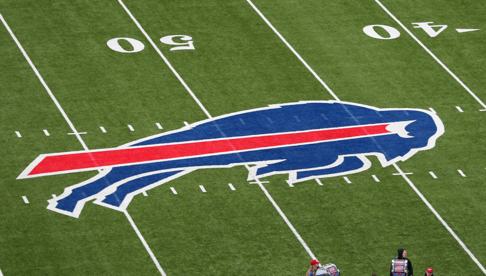 The Buffalo Bills logo painted on what was then called New Era Field.