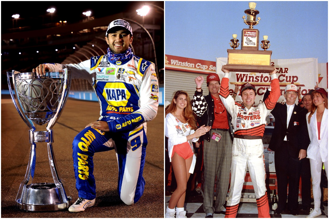Two NASCAR Cup Series champions, Chase Elliott (left) and Alan Kulwicki (right)