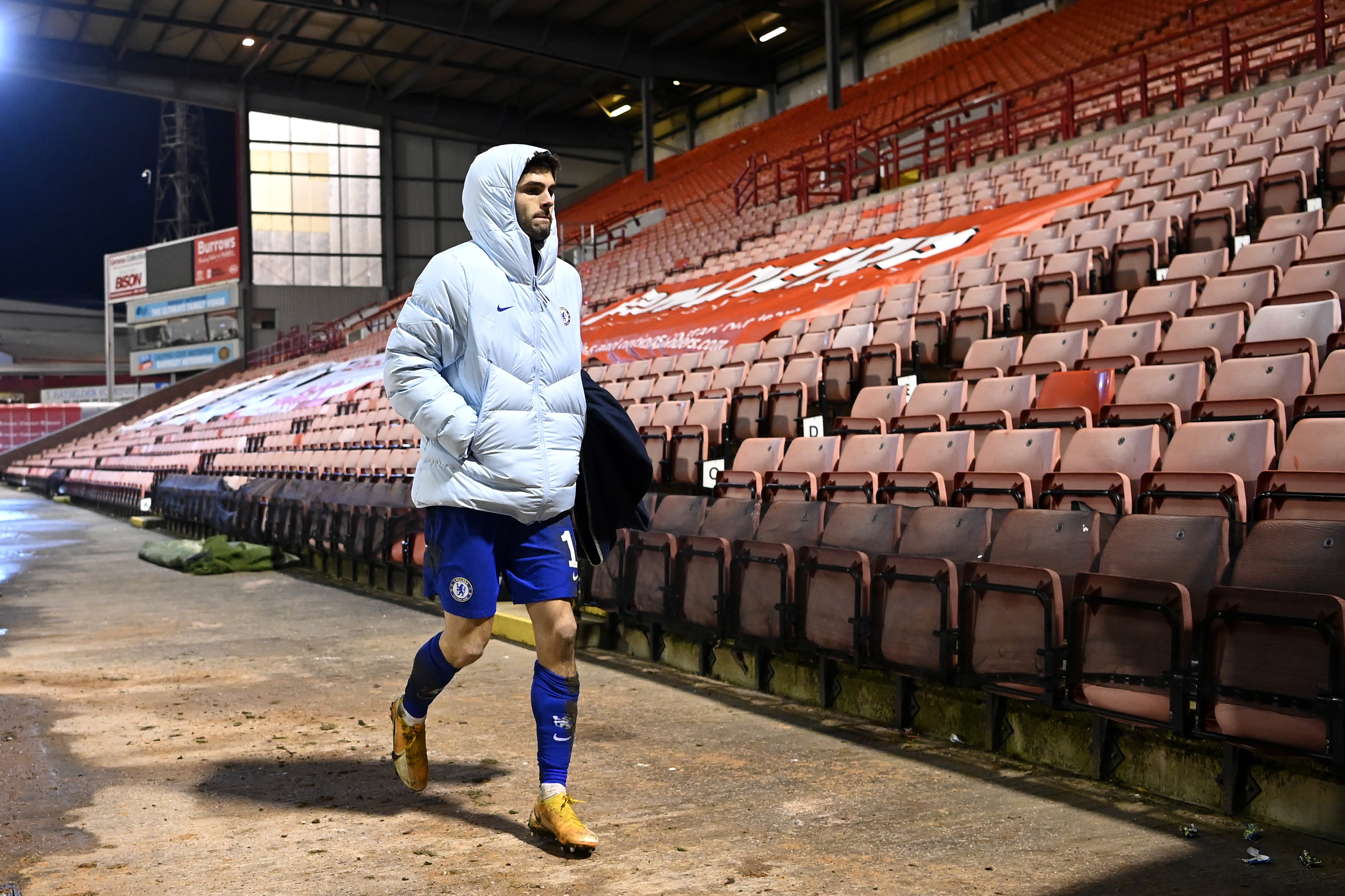 Christian Pulisic of Chelsea makes his way out of the stadium