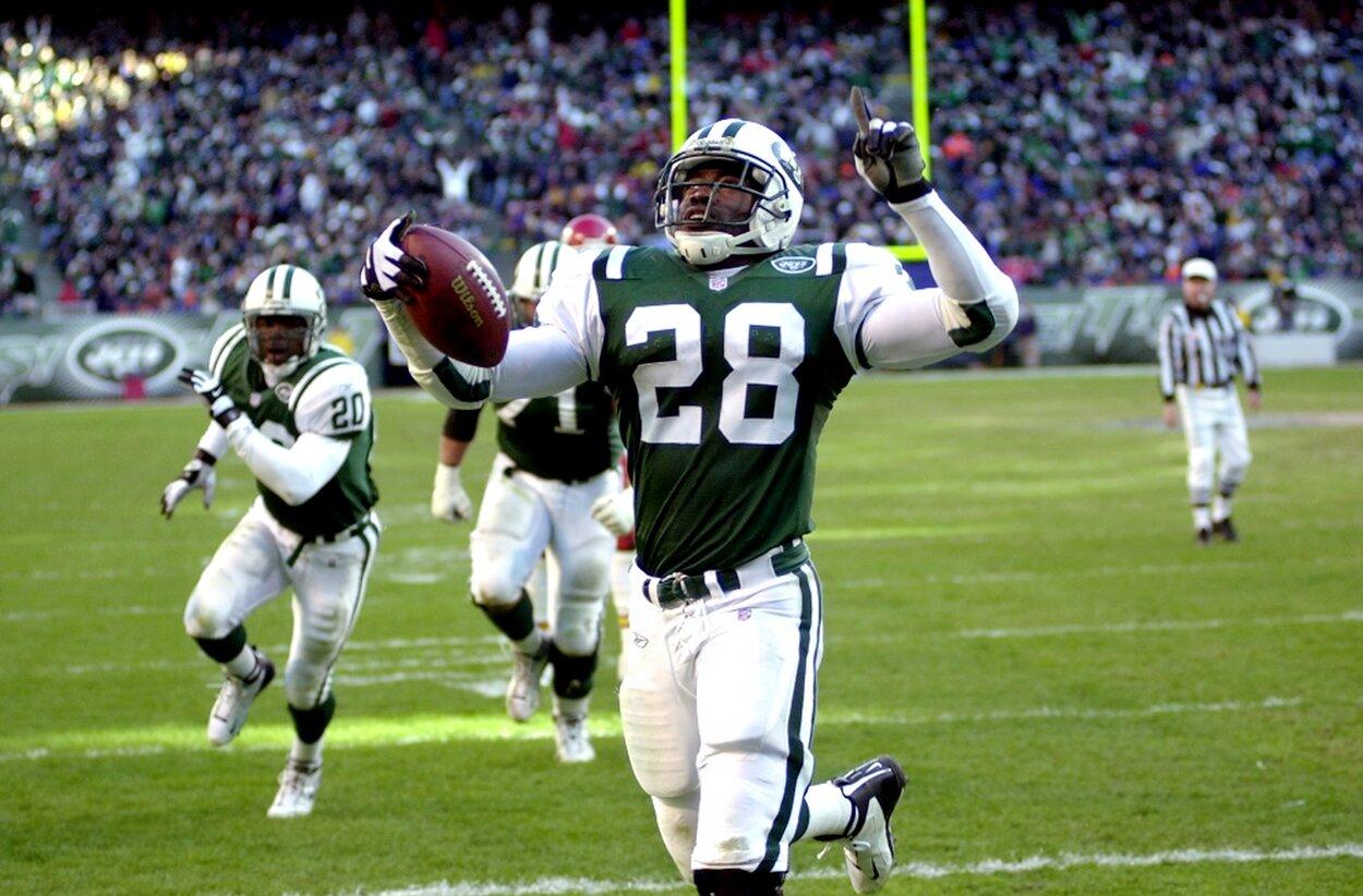 New York Jets running back Curtis Martin scores a touchdown.