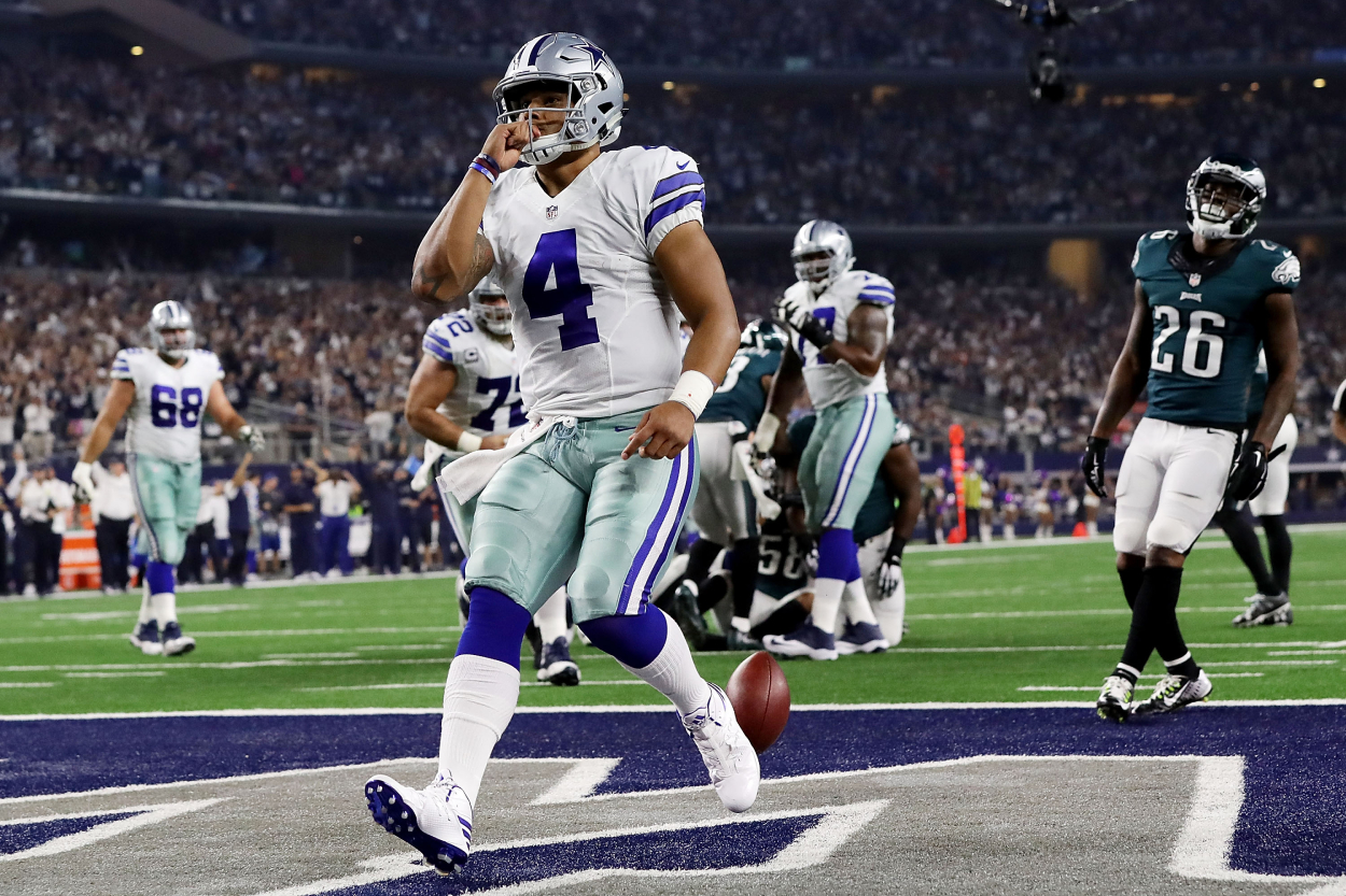 Dallas Cowboys quarterback Dak Prescott, who is getting a new contract, celebrates against the Eagles.