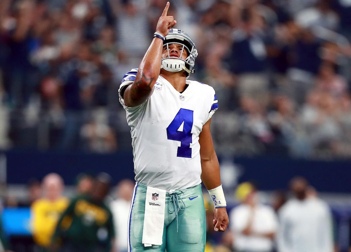 Dak Prescott of the Dallas Cowboys celebrates a touchdown