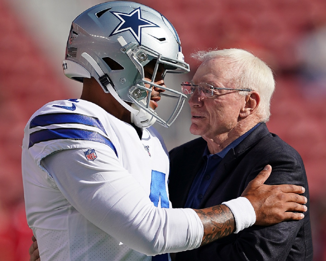 Dallas Cowboys quarterback Dak Prescott and owner Jerry Jones in 2019