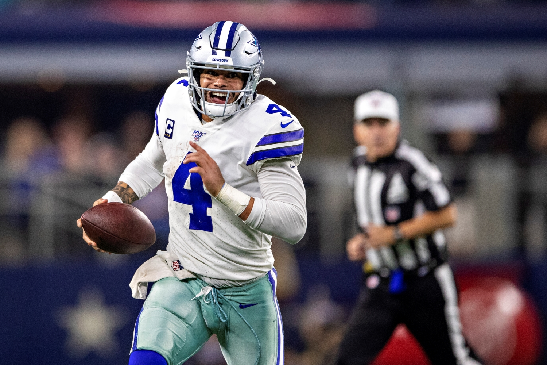 Dak Prescott of the Dallas Cowboys runs the ball against the Buffalo Bills on Nov. 28, 2019.