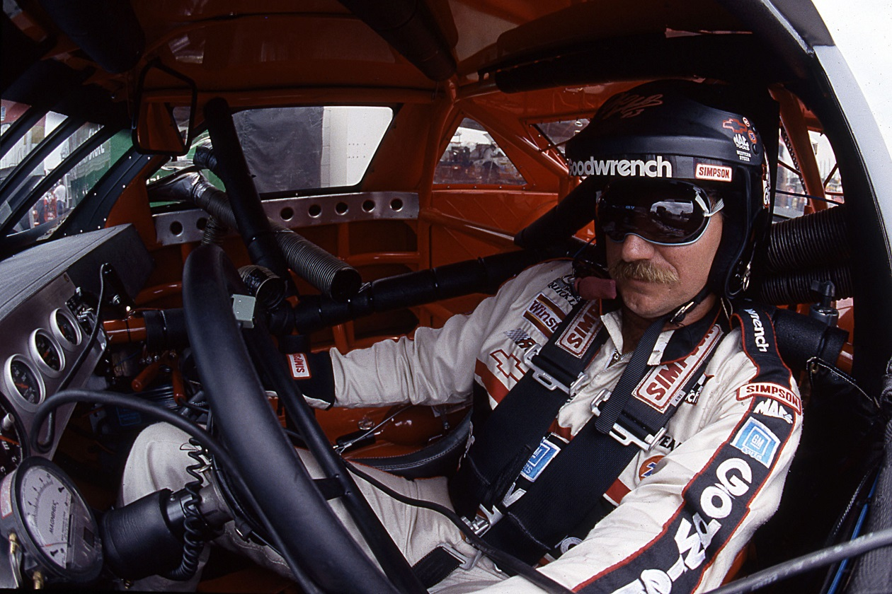 Dale Earnhardt in his car before a 1992 race.