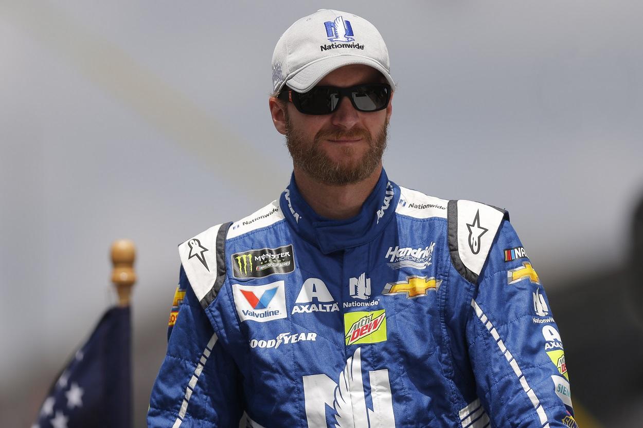 Dale Earnhardt Jr. prepares for a NASCAR race.