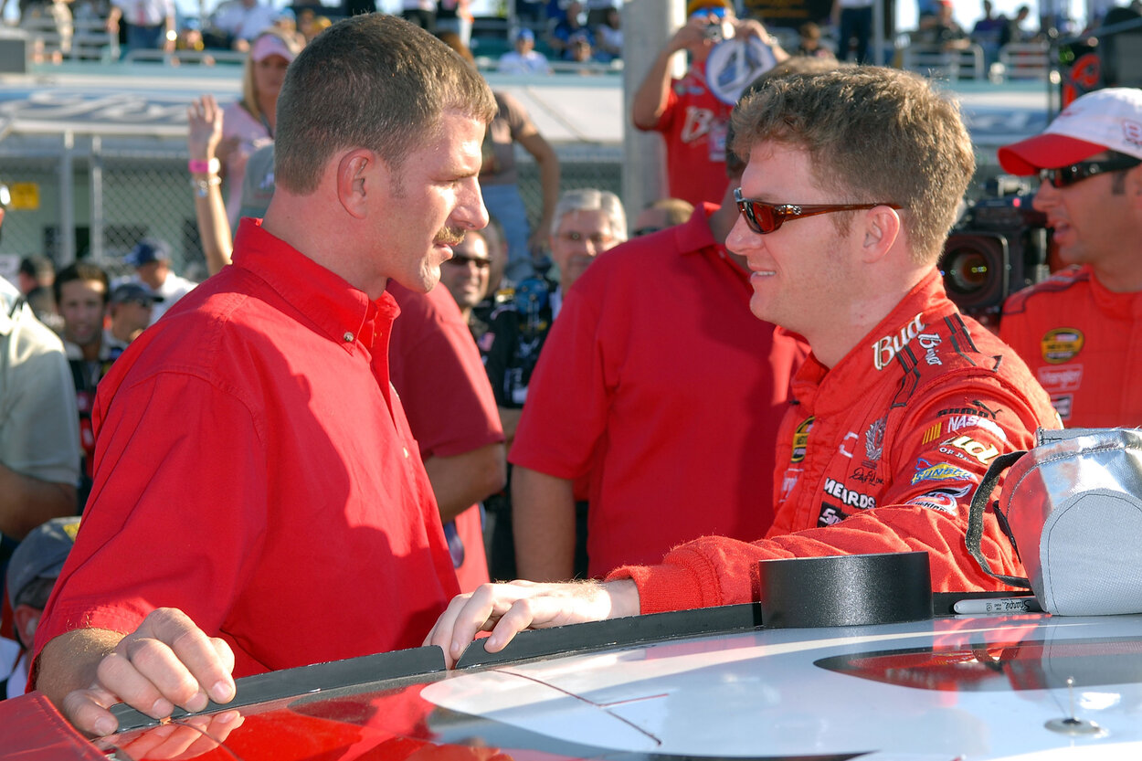 NASCAR driver Dale Earnhardt Jr. (R) and his half-brother, Kerry, before a race in 2007.