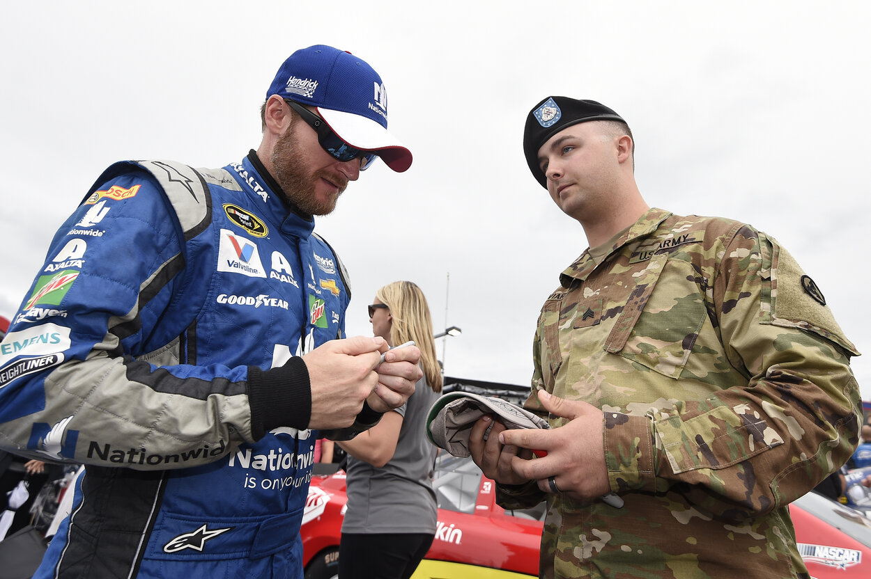 NASCAR legend Dale Earnhardt Jr. and a military serviceman in 2016.
