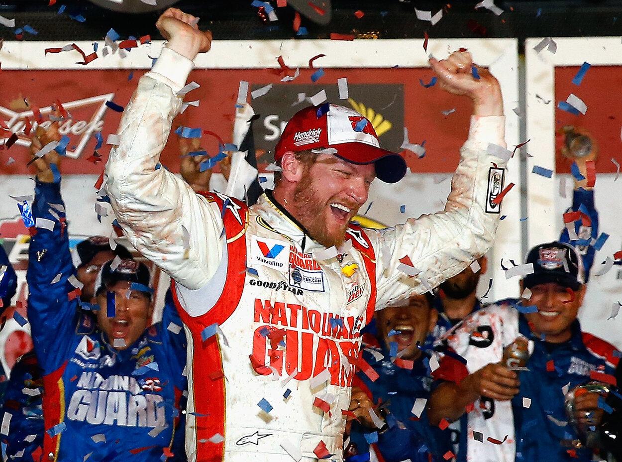 NASCAR legend Dale Earnhardt Jr. celebrates winning the Daytona 500 in 2014.