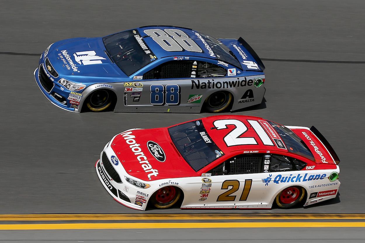 Dale Earnhardt races Ryan Blaney at Daytona 500