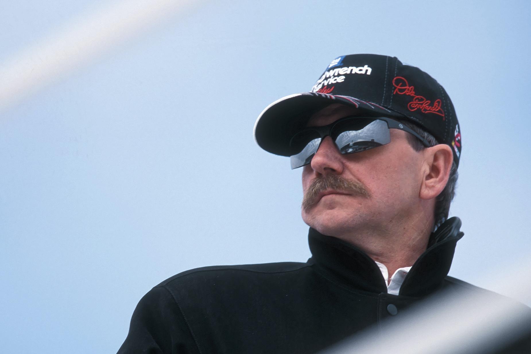 NASCAR legend Dale Earnhardt Sr. watches a race.