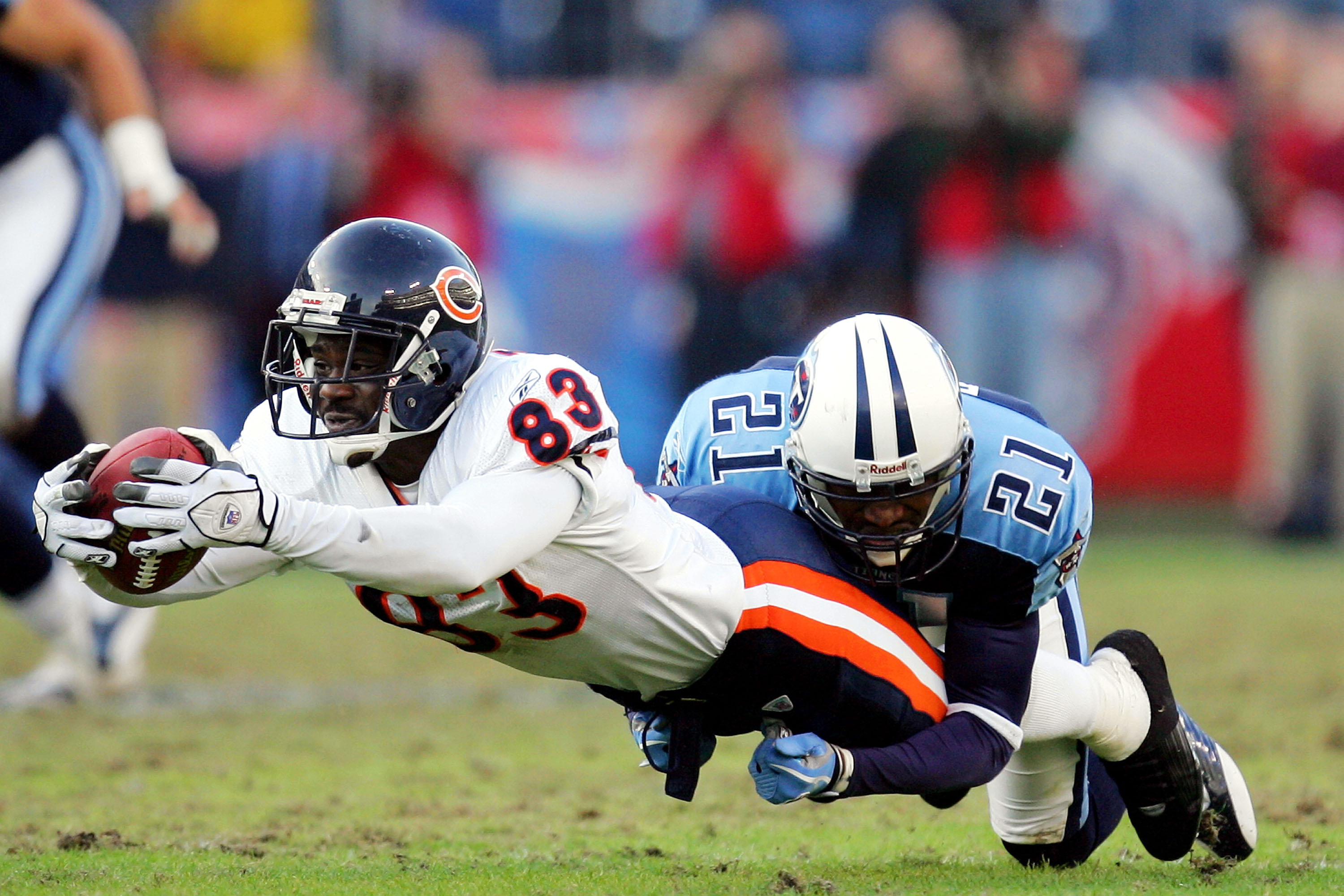 David Terrell stretches the ball out during a Bears game