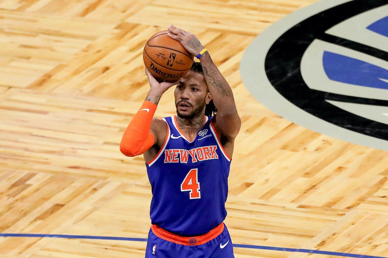 Derrick Rose of the New York Knicks shoots a free throw